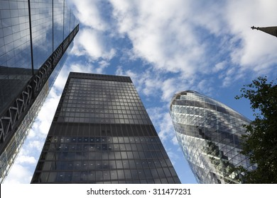 View looking up at the modern office buildings in Lime Street in the City of London.