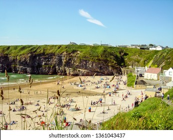 View looking out over Ladies Beach, Ballybunion, Co. Kerry, Ireland on a warm summers day