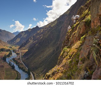 View looking up the Sacred Valley from the top of the Via Ferrata climing route.SkyLodge buildings are in view as well