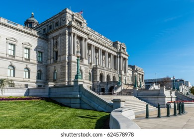 View looking south of the staircase leading to the Library of Congress in Washington DC.