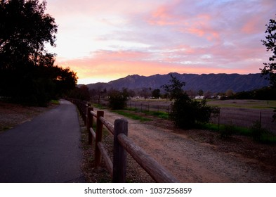 View looking west at sunset, from Mira Monte, in the Ojai Valley, California. June 25, 2017