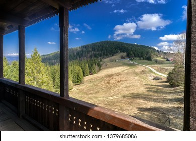 View from Lookout called Veza in village Velke Borove, Slovakia. - Shutterstock ID 1379685086
