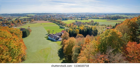 view from look-out ebersberg to rural bavarian foothills in autumn