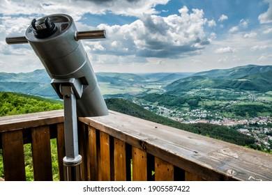 View from lookout tower Haj, Nova Bana, Slovak republic. Travel destination.