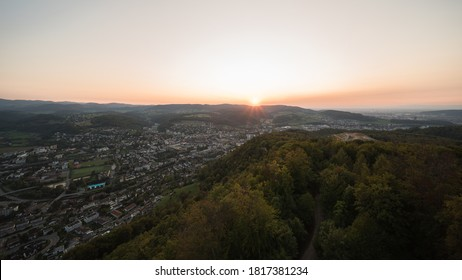view from lookout tower liestal, in switzerland at evening, liestal is in the canton of basel-landschaft.