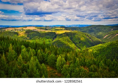 View from lookout tower Sendraz in northeast Bohemia.  - Shutterstock ID 1228582561