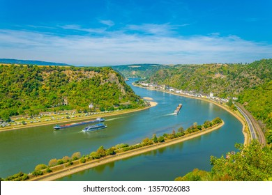 View from Lorelei cliff towards St. Goarshausen in Germany