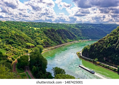 View from the Loreley on the Rhine at St. Goarshausen Upper Middle Rhine Valley in Rhineland-Palatinate Germany Europe photographed on 2019-08-16