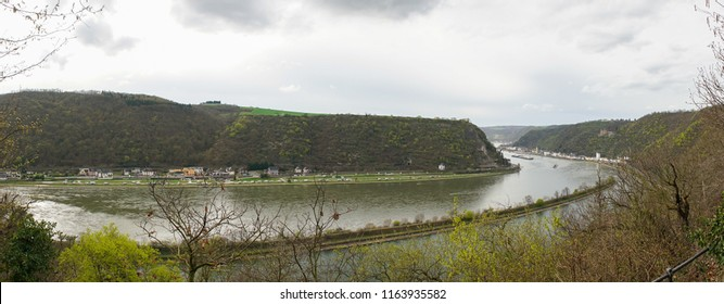 View from the Loreleyfelsen down to the village and Rhine river in Lorelei, Germany.