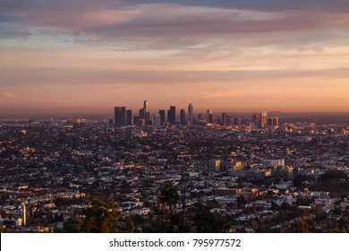 View of Los Angeles from the Griffith Observatory in the evening