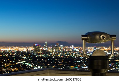 View of Los Angeles skyline at sunrise