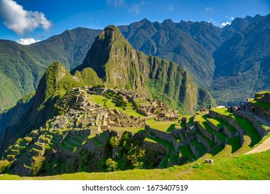 View of the Lost Incan City of Machu Picchu near Cusco, Peru. Machu Picchu is a Peruvian Historical Sanctuary.