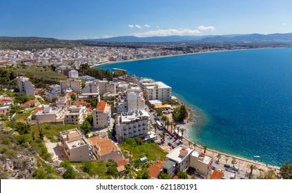 View of Loutraki town, Corinthia, Greece