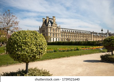 View at Louvre, Paris with spherical tree in the foreground