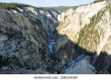 View of the Lower Falls waterfall and the Yellowstone River from the Artist Point lookout in Yellowstone National Park, Wyoming