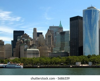 View of Lower Manhattan and Battery Park.