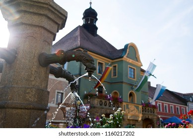 View of the lower part of the historical fountain in Furth im Wald, Germany.