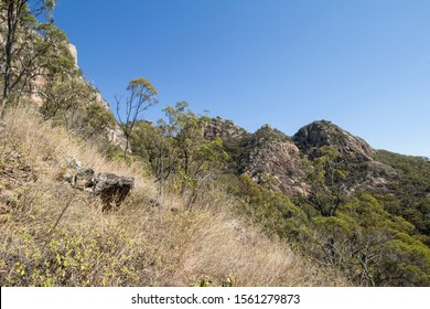 """View of lower peaks from """"The Bluff""""  walking track at Mount Walsh National Park in the North Burnett district of Queensland, Australia."""