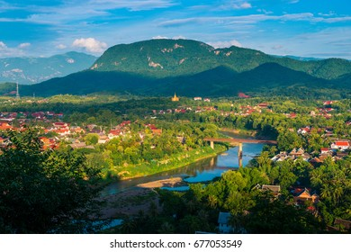 View of Luang Prabang from Above Mount Phousi on a beautiful day
