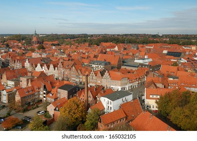 A view of Lueneburg old center from water tower, Lower Saxony, Germany