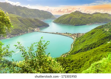 View to Lugano lake from Monte San Salvatore towards the Italy and Switzerland Border
