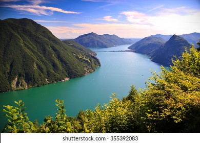View of Lugano lake in summer,  Switzerland