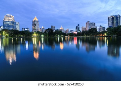 View from Lumpini Park, The first park in Thailand, Bangkok.