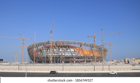 A view of Lusail National Stadium, under construction in Lusail, Qatar. This new facility is scheduled to host the final of the 2022 FIFA World Cup- Doha, Qatar -11/17/2020