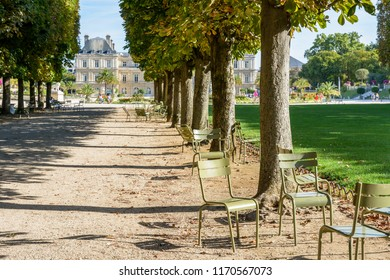View of the Luxembourg garden in Paris, France, by a sunny summer morning with shady tree lined alley, people strolling or resting on metal lawn chairs and the Luxembourg palace in the background.