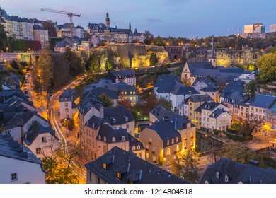 A view of the Luxembourg Skyline durin the blue hour.  Part of the Grund and Bock Promontory can be seen.