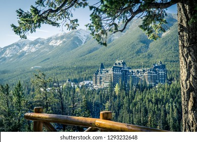 View of luxurious Banff Fairmont Springs Hotel in Banff National Park, Alberta, Canada