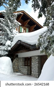 View of a luxurious chalet in a skiing resort.