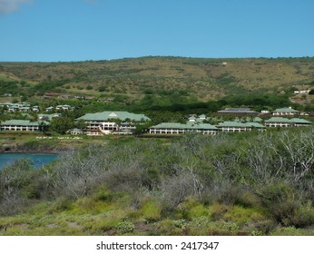 View of luxurious top notch resorts at Hulopoe Bay, Hawaii, whose beach was rated #1 in previous years