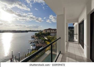 View of luxurious waterfront houses
