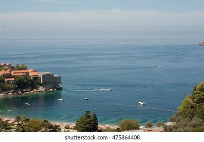 View from luxury beach Sveti Stefan, Budva Riviera, Montenegro.