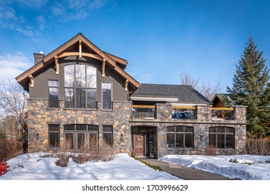 View of a luxury home in Canmore, Alberta.