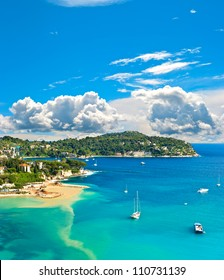 view of luxury resort and bay of Cote d'Azur. Villefranche by Nice, french riviera. turquoise sea and blue sky