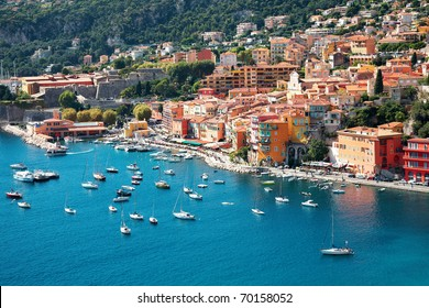 View of luxury resort and bay of Cote d'Azur in France.