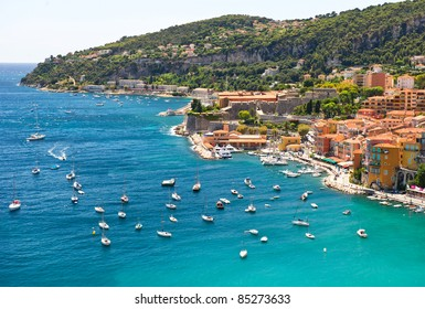 view of luxury resort and bay of Villefranche, Cote d'Azur, France