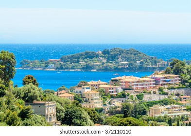 View of luxury resort Villefranche-sur-Mer and bay on French Riviera at Mediterranean Sea. Cote d'Azur. France.