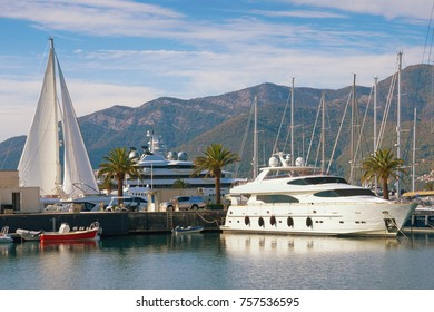 View of luxury yacht marina in the Adriatic - Porto Montenegro . Bay of Kotor, Tivat, Montenegro