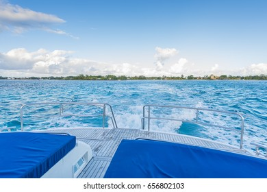 View from luxury yacht in Mauritius tropical island