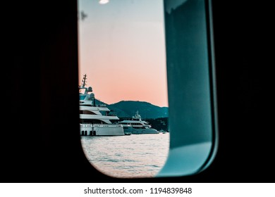 The view from a luxury yacht, sunset over Monaco, Monte-Carlo. Private party for billionaires and top brokers, business with style. Amazing holidays.