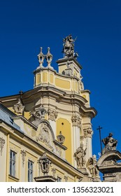 View of Lviv Greek Catholic Archbishop's Cathedral of Saint George (Ukr: Sobor sviatoho Yura, 1760) - magnificent Rococo architectural ensemble dating back to the XVIII century. Lviv, Ukraine.