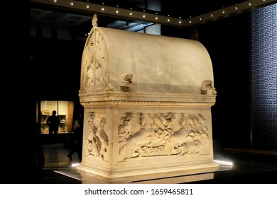 View of Lycian Sarcophagus in Istanbul Archaeology Museum, Turkey, 2020.
