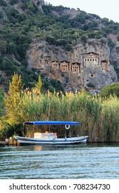 view of  Lycian tombs at Kaunos antique city at Dalyan, Turkey