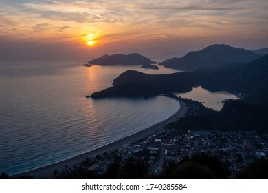 View of Ölüdeniz from the Lycian Way at sunset, in Fethiye, Mugla.