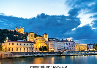 View of the Lyon Cathedral and the Basilica of Notre-Dame de Fourviere. Lyon - Auvergne-Rhone-Alpes, France