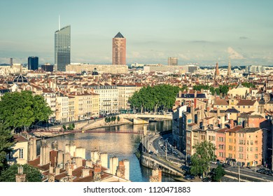 View of Lyon with Saone river, France