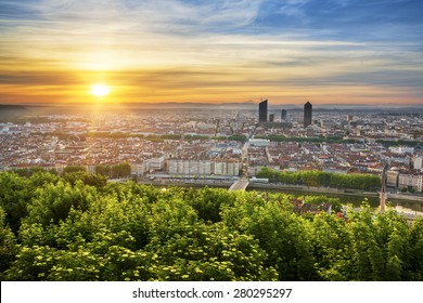 View of Lyon at sunrise, France.